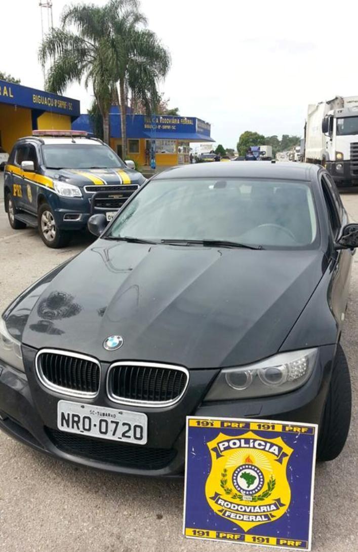BMW roubada em PO e recuperada em Biguaçu