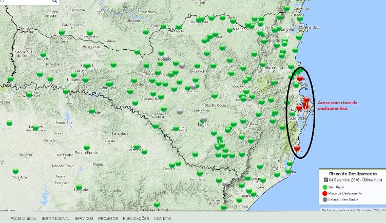 Áreas com risco de deslizamentos entre domingo e terça-feira (imagem: Epagri/Ciram)