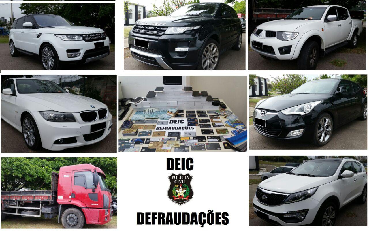 Carros de luxo e caminhão do estelionatário (Fotos: Polícia Civil)