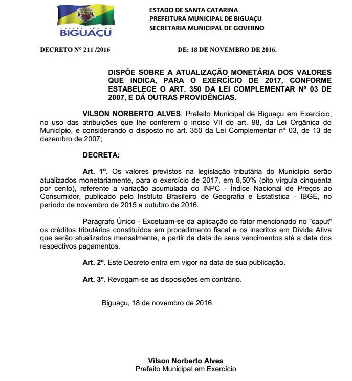 Decreto assinado no dia 18 foi publicado esta semana